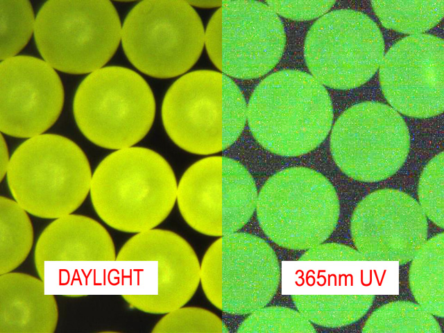 Fluorescent Yellow Microspheres Density 1.02g/cc for Flow Visualization and PIV<br>Bright Fluorescent Yellow-Green Particles with UV and Visible Illumination