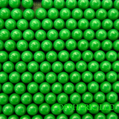 Green Cellulose Acetate Polymer Spheres Density -1.3g/cc - Particle Diameters 1.8mm and 2.9mm