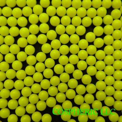 Yellow Cellulose Acetate Polymer Spheres Density -1.3g/cc - Particle Diameters 2.35mm and 3.0mm